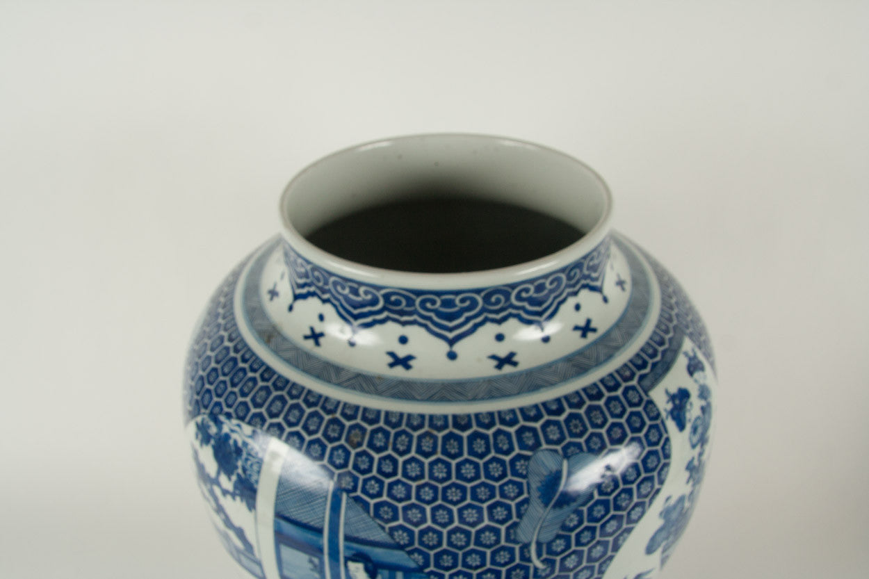 A Large Japanese Meiji Period Blue and White Baluster Vase