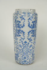 A Continental Blue and White Floral Garden Vase.