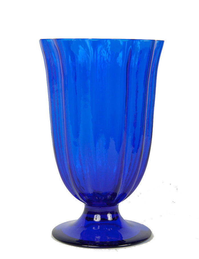 A Carder Era Blue Glass Steuben Vase with Vertical Ribbing