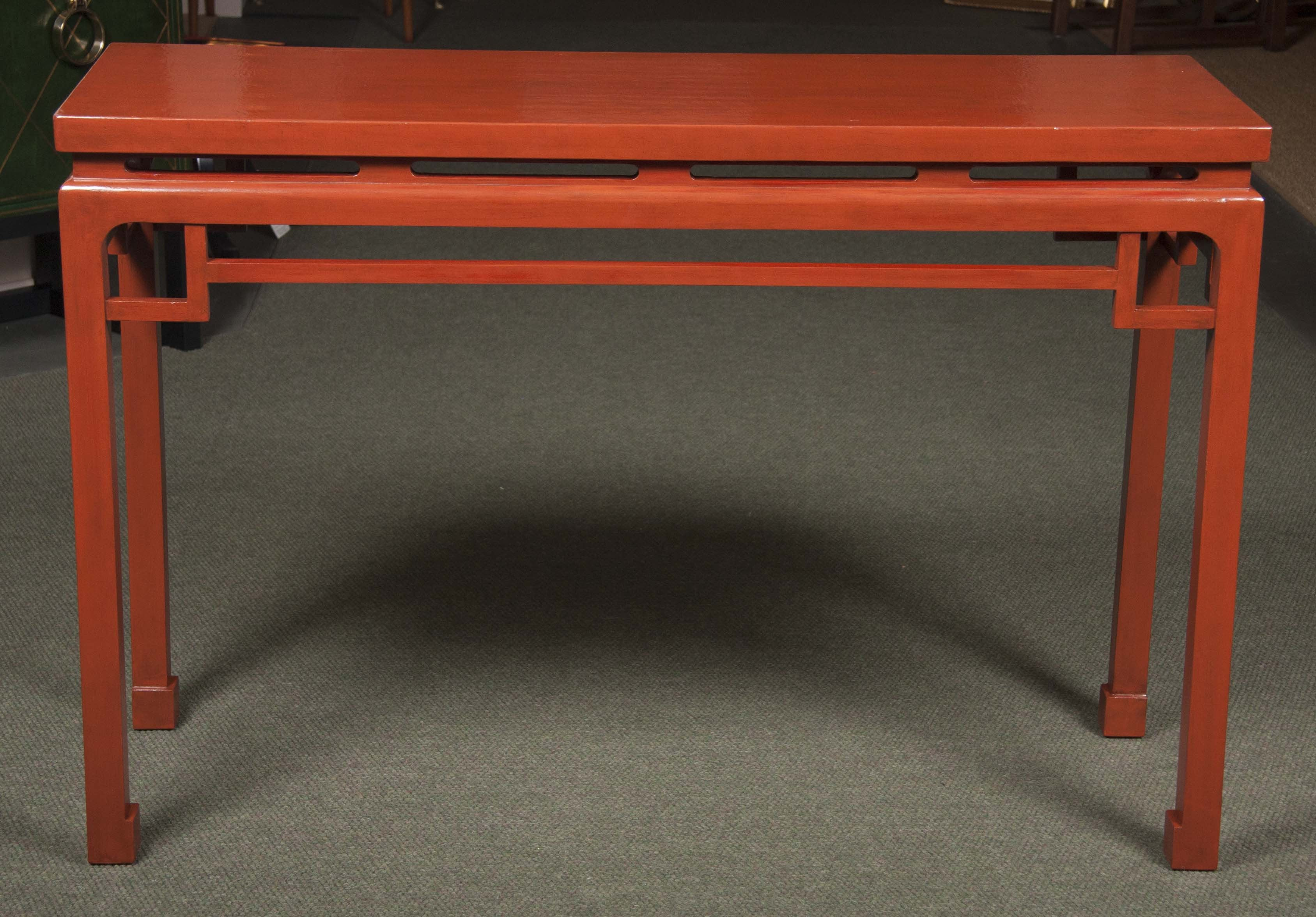 Pair of Red Lacquered Chinese Console Tables