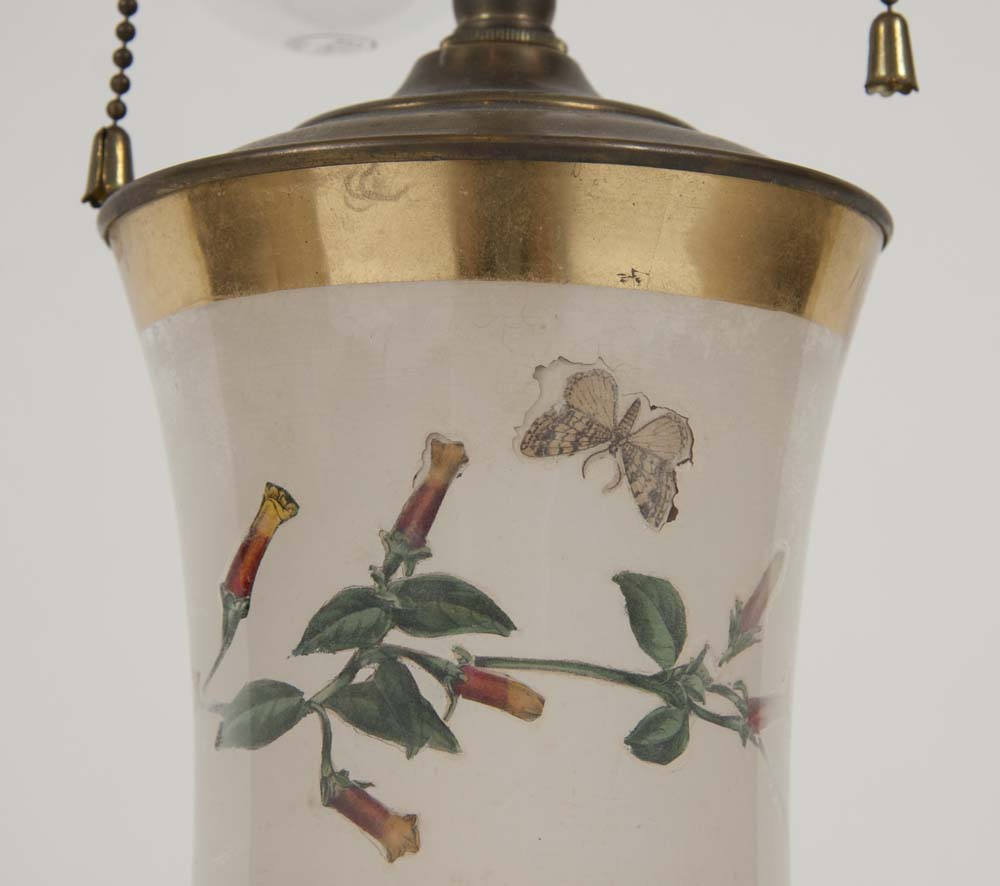 Pair of French Eglomise Lamps