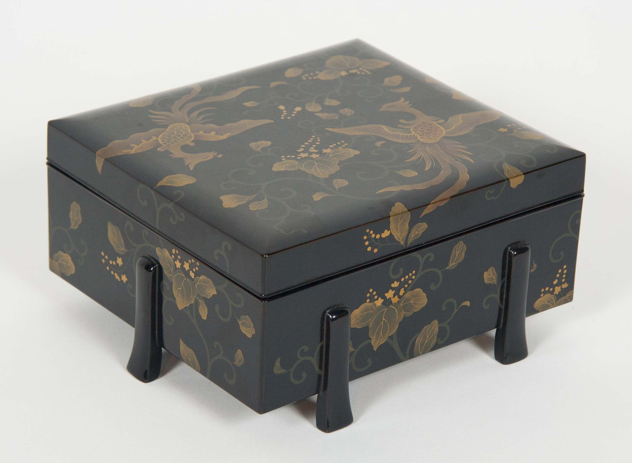 Six-Footed Black and Gold Lacquered Box