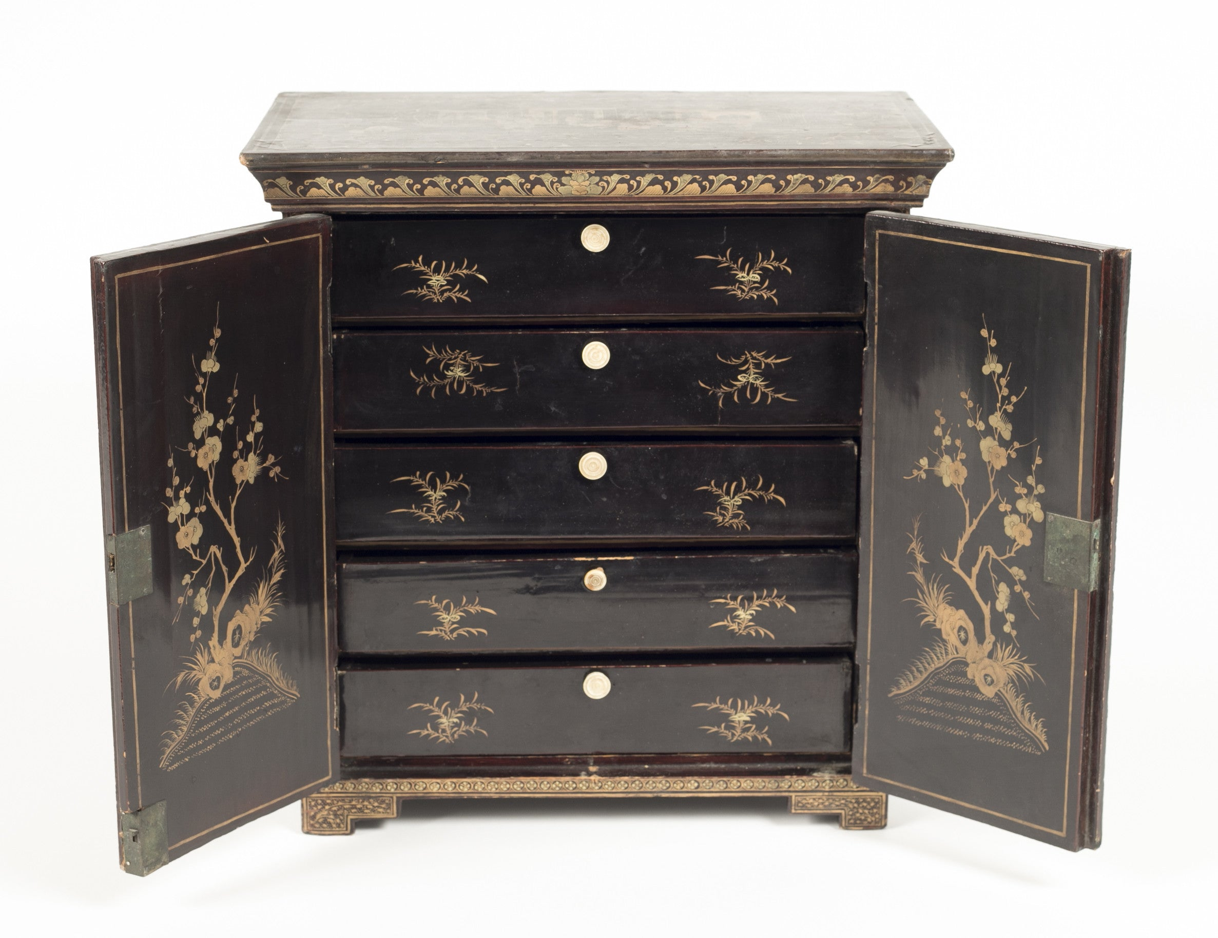 A Chinese Black Lacquer Two Door Table Top Cabinet