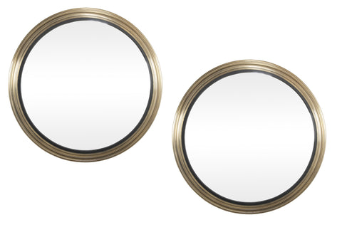 Pair of Monumental 20th Century Convex Mirrors with Steel Frames & Bronze Finish
