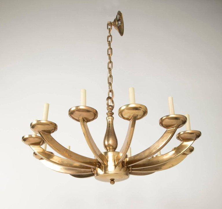 Italian Mid Century Modern Brass Twelve Light Chandelier