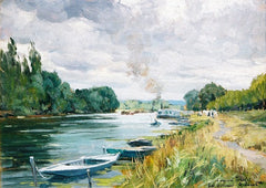 Alexandre JACOB (French, 1876-1972) A River Landscape with barges Circa 1890