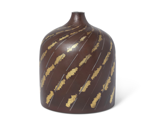 A Japanese Iron Vase with Inlaid Silver and Gold by Ueda Hiroshi