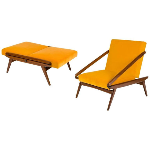 Gio Ponti Adjustable Armchairs/Ottomans