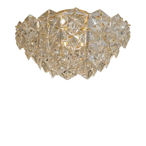 "Kinkeldey ""Royal"" Crystal and Gold-Plate Flushmount Chandelier"