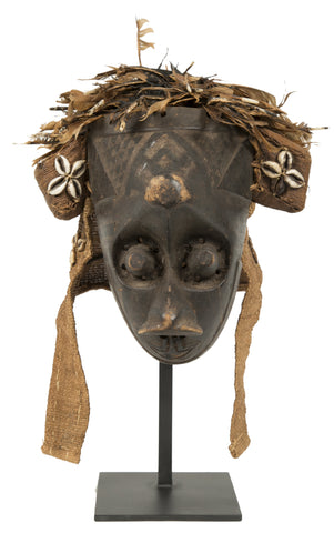 An African Mask From the Kuba Tribe on Stand