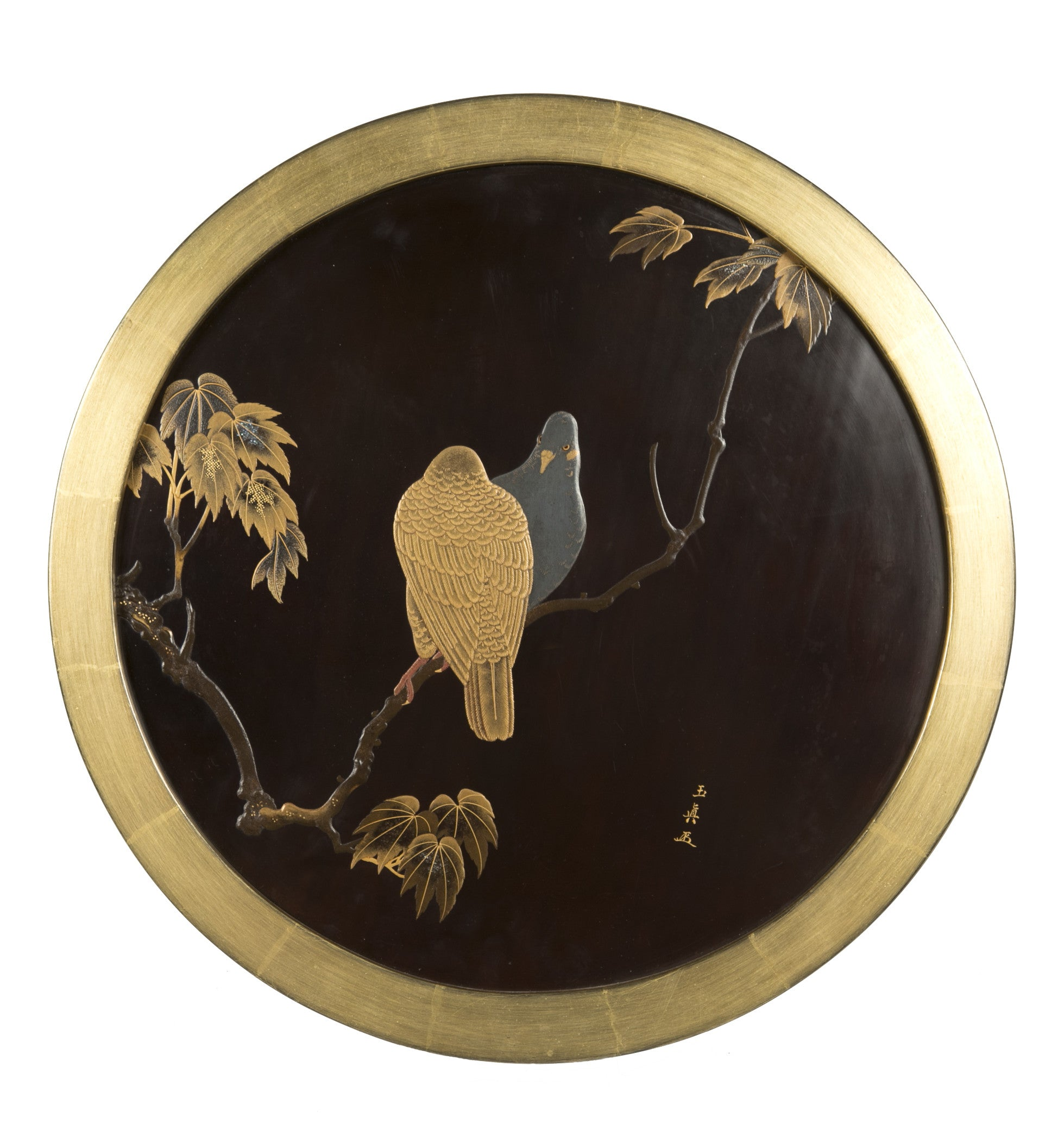 A Japanese Black and Gold Lacquered Panel Signed Guykushin