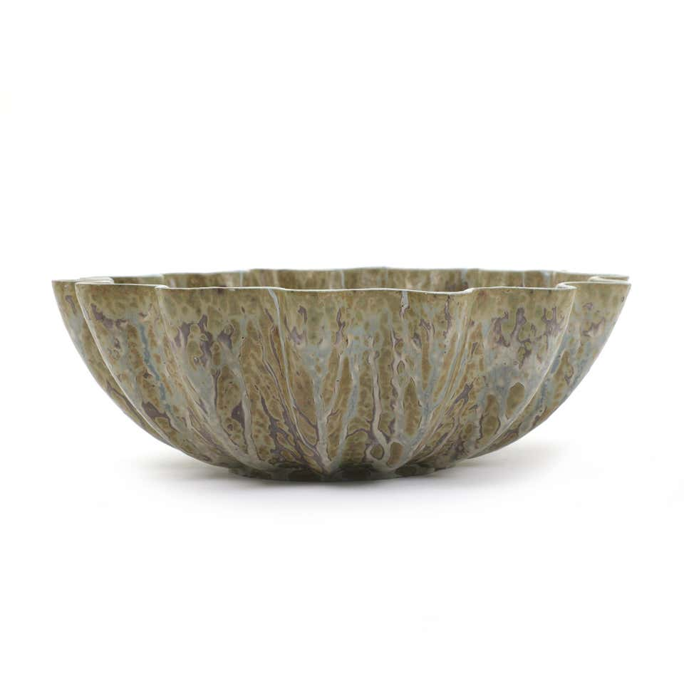 Large Wavy Rimmed Stoneware Bowl by Arne Bang