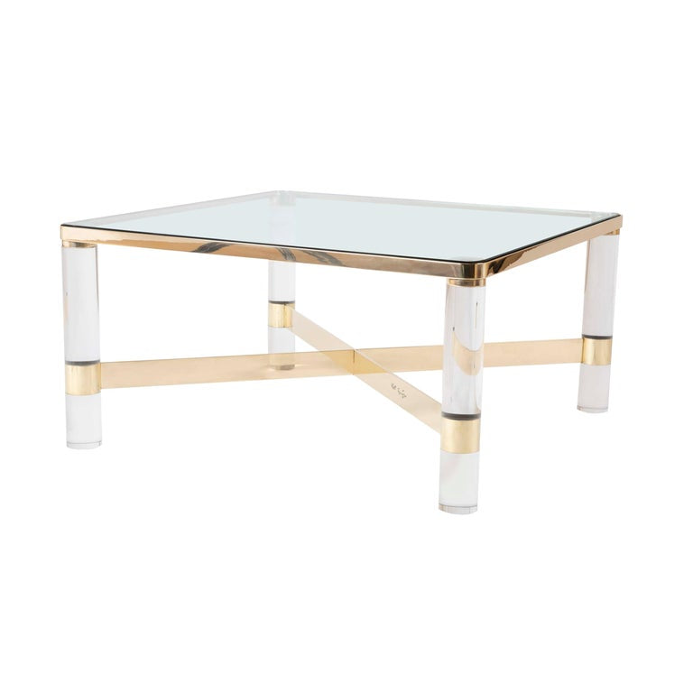 A Signed Karl Springer Lucite And Brass Coffee Table With Glass Top