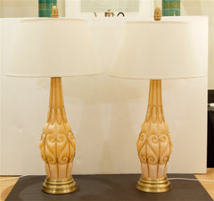 Large Coral Tone Murano Lamps with Brass Details by Marbro