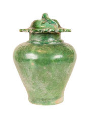 A Ming Covered Baluster Vase In Kelly Green.