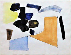 """Abstract Cubist Work on paper"" by Jacques Nestle  (French, 1907 – 1991)  Circa 1950"