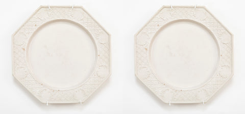 A Pair of Octagonal Press Molded Salt-Glazed Stoneware Plates