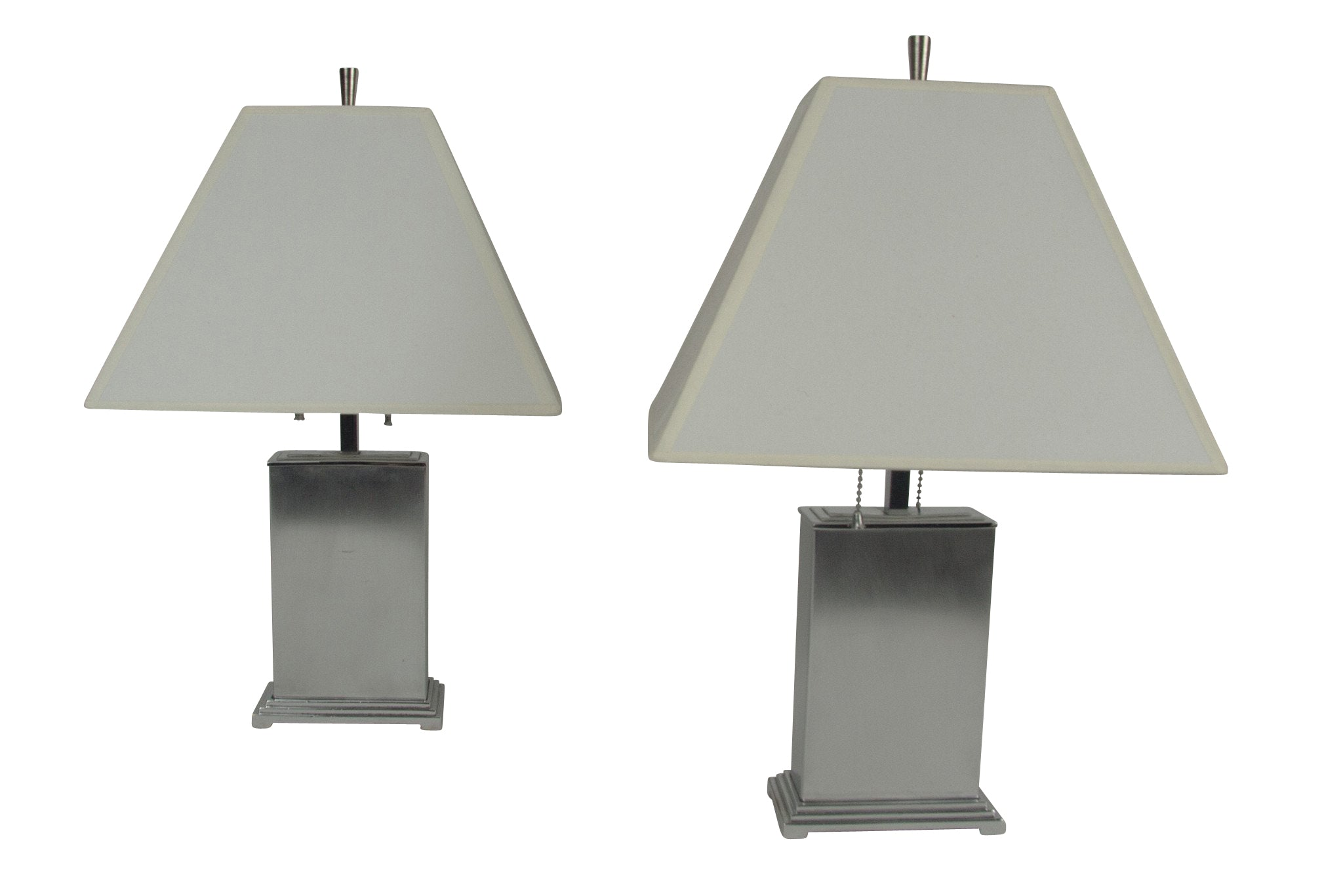 A Pair of Steel and Chrome Table Lamps by Chase