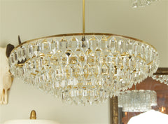 Large Brass and Crystal Chandelier by Palwa
