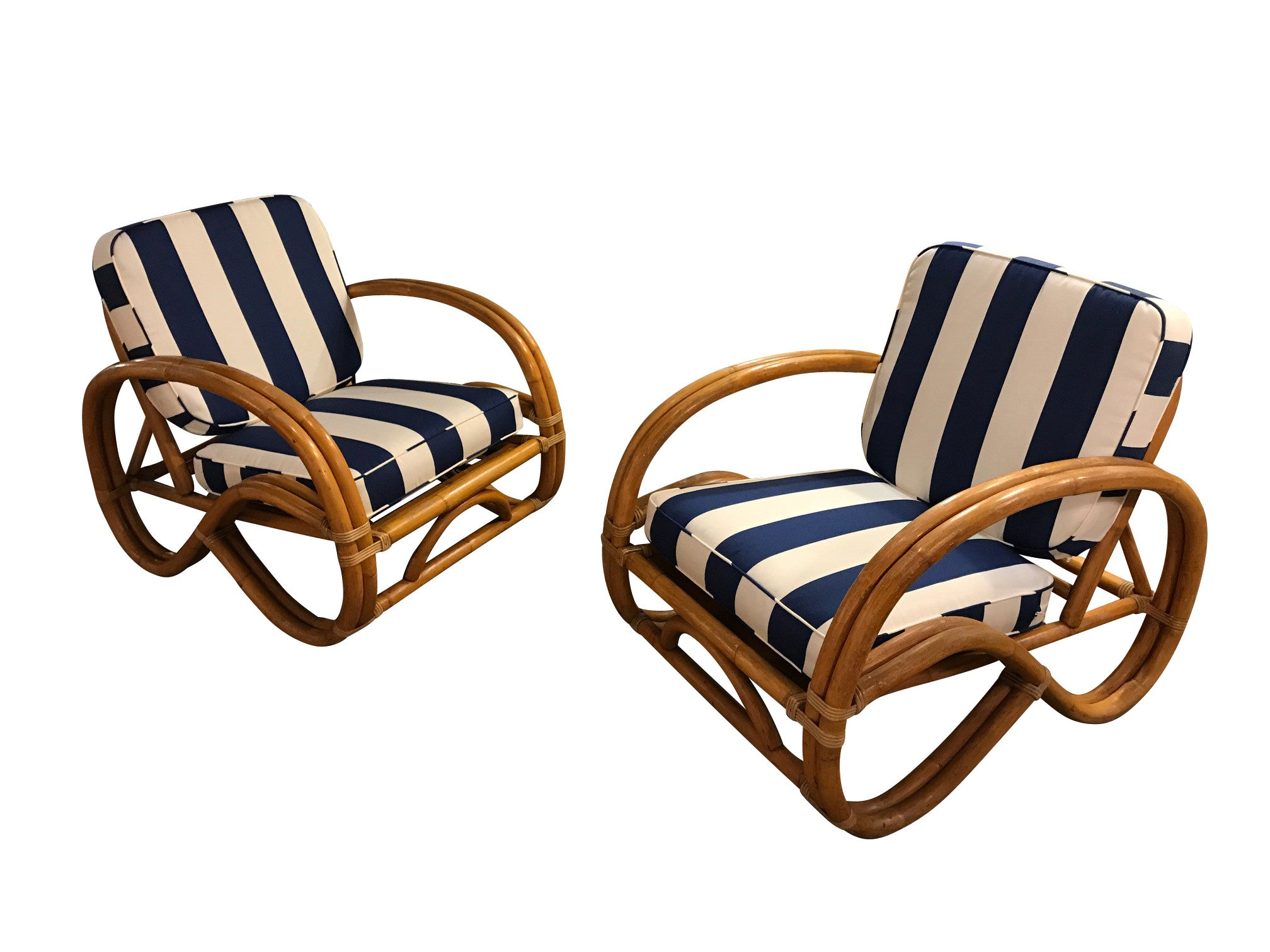 Pair Paul Frankl style double Bamboo Pretzel Lounge chairs