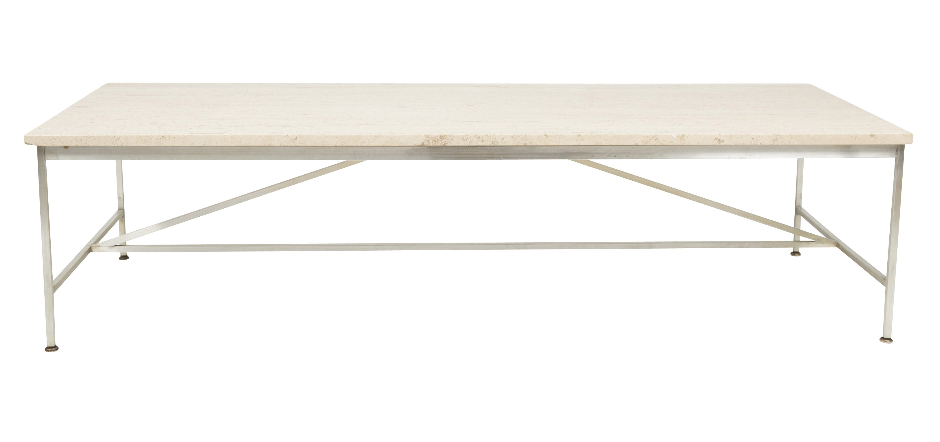An Aluminum and Travertine Coffee Table Designed by Paul McCobb
