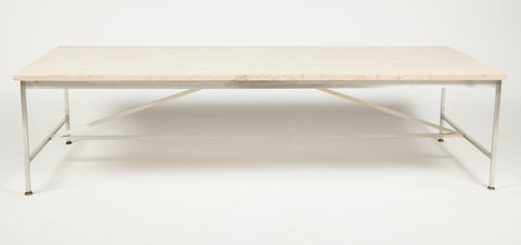 A Aluminum and Travertine Coffee Table Designed by Paul McCobb
