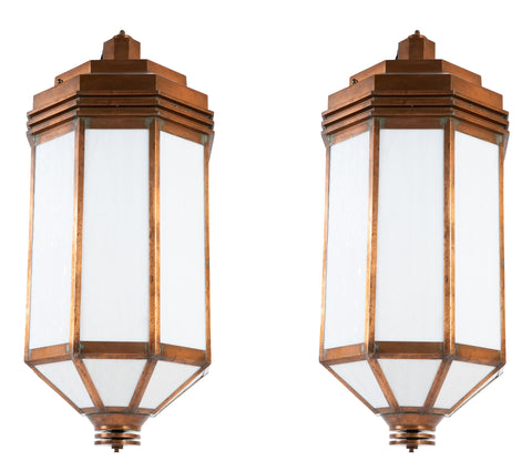 A Pair of Art Deco Style Copper and Milk Glass Lanterns