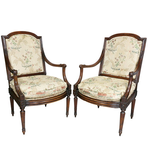 Pair of Italian Neoclassic Walnut Armchairs