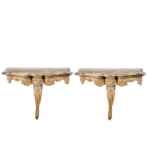 Pair of Regence Giltwood and Marble-Top Console Tables