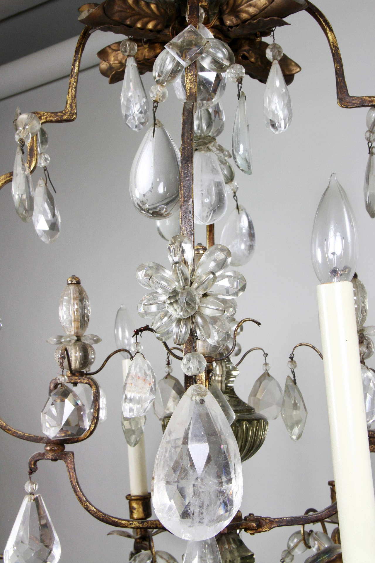 French Rock Crystal and Gilt Metal Chandelier – Avery & Dash