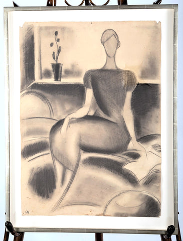 """Portrait d'une Femme Assise"" (Portrait of a Seated Lady)  by Mathieu Rosianu  (French,1897-1969)   Circa 1930"
