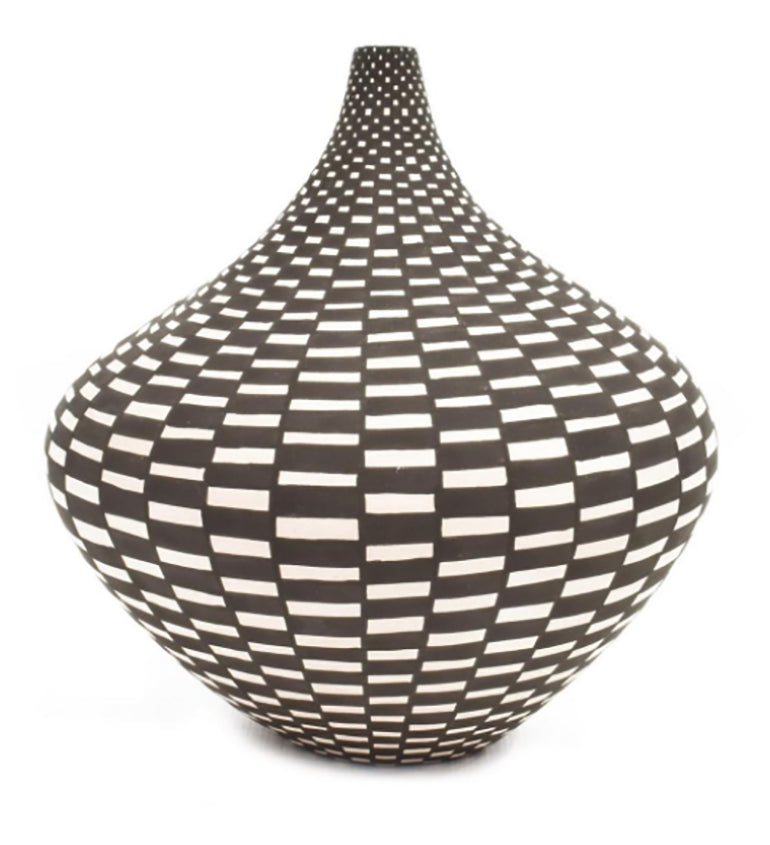 A Acoma NM Tall Neck Seed Pot With Geometric Design By Sandra Victorino