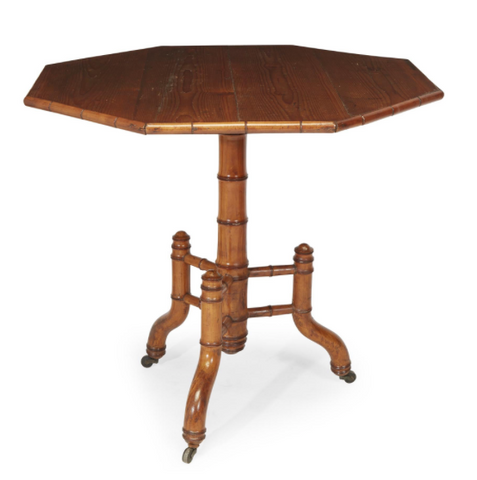 A French Bamboo and Pine Octagonal Center Table