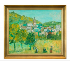 """Hilltown"" Oil on Canvas by Giordano"