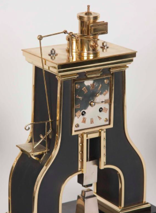 Handsome French Industrial Clock and garniture