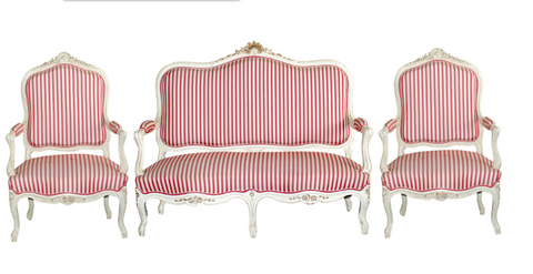 3 piece Sofa and Chairs in Red/White Upholstery