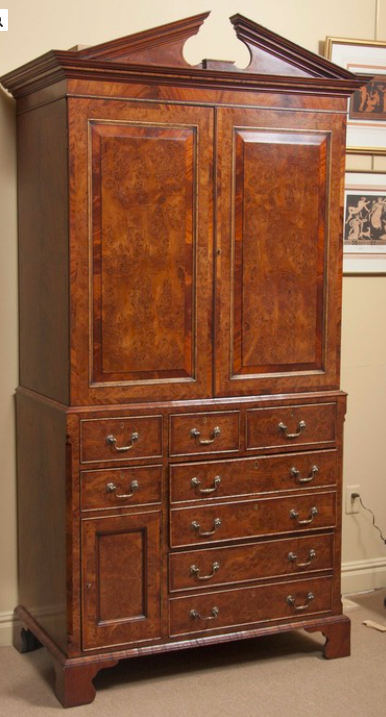 19th Century Yew Wood & Mahogany Linen Press
