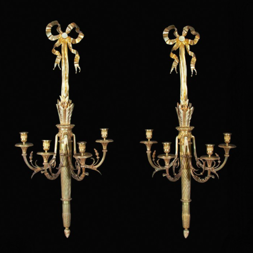 A Large Pair of Louis XVI Style Bronze Sconces