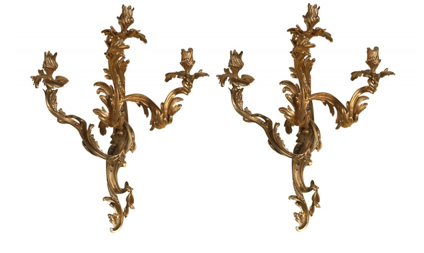 Bronze Louis XV Style Sconces