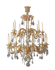 Fine Louis XV Crystal and Bronze 24 Light Chandelier