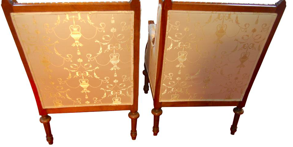 Pair of French Berger Chairs in White Damask