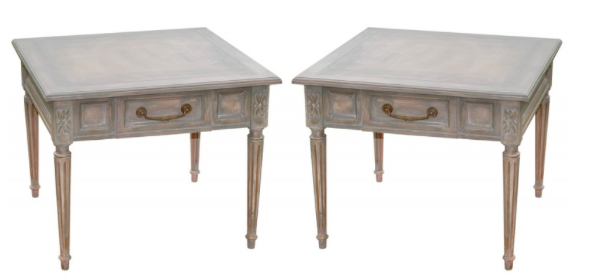Pair of Neoclassical French Grey Side Tables