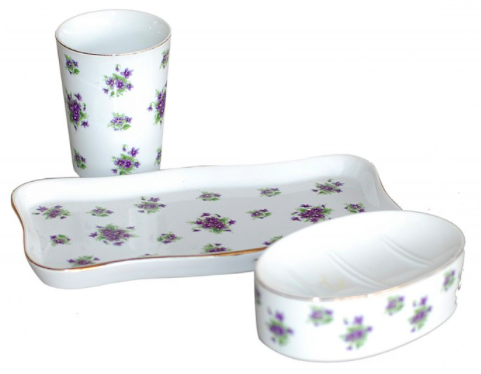 Porcelain Hand Painted Floral Bathroom Set of 3