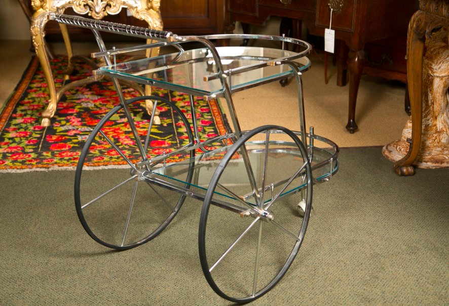 Mid-Century Italian Chrome Bar Cart
