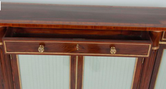 Extremely Narrow Regency Rosewood, Tulip and Satin Wood Parcel Gilt Credenza
