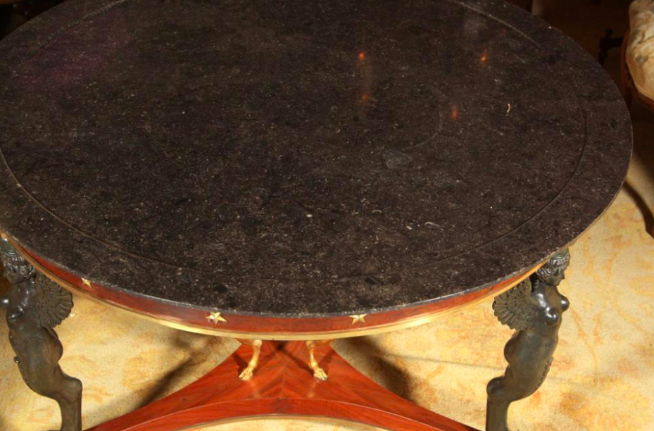 French Marble Top Gueridon Table