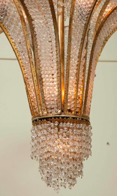Gilt Metal and Crystal Bead Chandelier