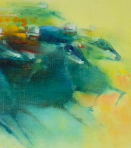 """Horse Race"" Oil on Canvas by A. Lourenso"