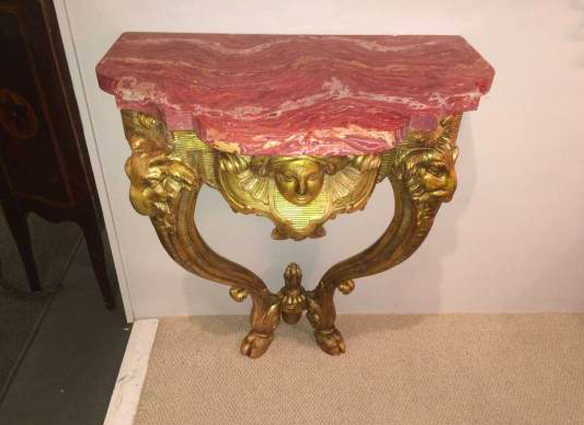 18th Century Giltwood Console with Scagliola Top