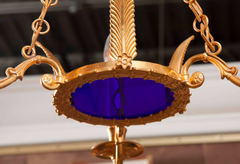 Dore Bronze and Cobalt Chandelier